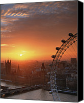 High Wheel Canvas Prints - Uk, London, Millennium Wheel And Cityscape, Sunset, Elevated View Canvas Print by Travelpix Ltd