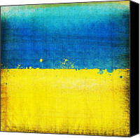 Abstract Map Digital Art Canvas Prints - Ukraine flag Canvas Print by Setsiri Silapasuwanchai