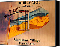 Flag Pole Canvas Prints - Ukrainian Village Ohio Canvas Print by Robert Harmon