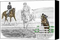 Horse Drawings Canvas Prints - Ultimate Challenge - Horse Eventing Print color tinted Canvas Print by Kelli Swan