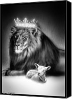 Lion Digital Art Canvas Prints - Ultimate Inspiration-Gods Plan of Love Canvas Print by Ronald Barba
