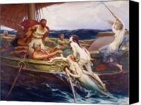 Mythology Canvas Prints - Ulysses and the Sirens Canvas Print by Herbert James Draper