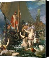 Mythological Canvas Prints - Ulysses and the Sirens Canvas Print by Leon Auguste Adolphe Belly