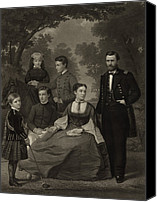 First Family Canvas Prints - Ulysses S. Grant With His Family When Canvas Print by Everett