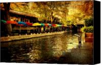 Riverwalk Canvas Prints - Umbrellas in the Riverwalk Canvas Print by Iris Greenwell