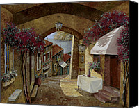 Table Canvas Prints - Un Bicchiere Sotto Il Lampione Canvas Print by Guido Borelli