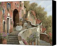 Wall Painting Canvas Prints - Un Caffe Al Fresco Sulla Salita Canvas Print by Guido Borelli