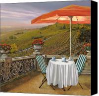Tuscany Painting Canvas Prints - Un Caffe Canvas Print by Guido Borelli