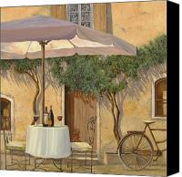 Bike Canvas Prints - Un Ombra In Cortile Canvas Print by Guido Borelli