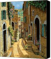 Sunny Canvas Prints - Un Passaggio Tra Le Case Canvas Print by Guido Borelli