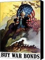 Store Digital Art Canvas Prints - Uncle Sam Buy War Bonds Canvas Print by War Is Hell Store