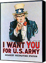 Flagg Canvas Prints - Uncle Sam I Want You Army Recruitment Canvas Print by Everett