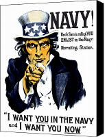 War Is Hell Store Canvas Prints - Uncle Sam Wants You In The Navy Canvas Print by War Is Hell Store