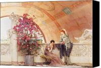 Alma-tadema; Sir Lawrence (1836-1912) Canvas Prints - Unconscious Rivals Canvas Print by Sir Lawrence Alma Tadema