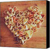 Food And Drink Canvas Prints - Uncooked Heart-shaped Pasta Canvas Print by Julia Davila-Lampe