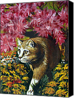 Tabby Painting Canvas Prints - Under the Azaleas Canvas Print by Karon Melillo DeVega