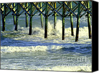 Pilings Canvas Prints - Under the Boardwalk Canvas Print by Karen Wiles