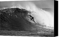 Kelly Slater Canvas Prints - Under the Lip in Black and White Canvas Print by Paul Topp