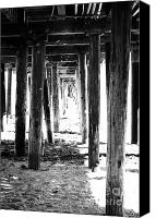 Wood Mixed Media Canvas Prints - Under The Pier Canvas Print by Linda Woods