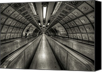 Indoors Canvas Prints - Underground Tunnel Canvas Print by Vulture Labs