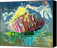 Avant Garde Mixed Media Canvas Prints - Undersea Still Life Canvas Print by Sarah Loft