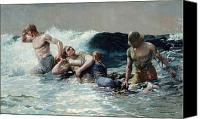 Safety Painting Canvas Prints - Undertow Canvas Print by Winslow Homer