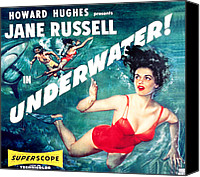 1955 Movies Canvas Prints - Underwater, Jane Russell, 1955 Canvas Print by Everett