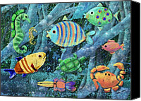 Sealife Digital Art Canvas Prints - Underwater Maze Canvas Print by Arline Wagner