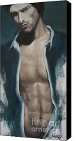 Semi Nude Canvas Prints - Undressing Canvas Print by Jindra Noewi