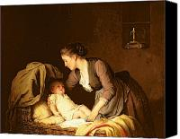 Crib Painting Canvas Prints - Undressing the Baby Canvas Print by Meyer von Bremen