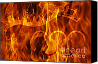 Location Digital Art Canvas Prints - undying Olympic flame Canvas Print by Michal Boubin