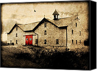 Barn Digital Art Canvas Prints - UNI Barn Canvas Print by Julie Hamilton