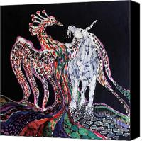 Fantasy Tapestries - Textiles Canvas Prints - Unicorn and Phoenix Merge Paths Canvas Print by Carol Law Conklin