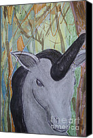 Black Unicorn Canvas Prints - Unicorn Azabache Canvas Print by Koral Garcia