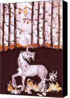 Fantasy Tapestries - Textiles Canvas Prints - Unicorn Below Trees in Autumn Canvas Print by Carol  Law Conklin
