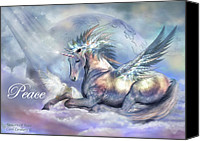 Greeting Card Canvas Prints - Unicorn Of Peace Card Canvas Print by Carol Cavalaris