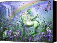 Fantasy Art Canvas Prints - Unicorn Of The Butterflies Canvas Print by Carol Cavalaris