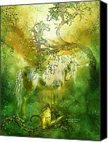 Greeting Card Canvas Prints - Unicorn Of The Forest  Canvas Print by Carol Cavalaris