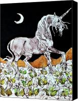 Unicorn Tapestries - Textiles Canvas Prints - Unicorn Over Flower Field Canvas Print by Carol  Law Conklin