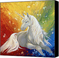 Unicorns Canvas Prints - Unicorn Rainbow Canvas Print by Silvia  Duran