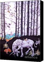 Unicorn Tapestries - Textiles Canvas Prints - Unicorn Rests in the Forest with Fox and Bird Canvas Print by Carol Law Conklin