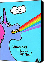 Unicorns Canvas Prints - Unicorns Throw Up Too Canvas Print by Jera Sky