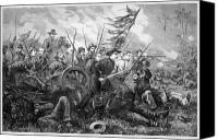 Civil War Painting Canvas Prints - Union Charge At The Battle Of Gettysburg Canvas Print by War Is Hell Store