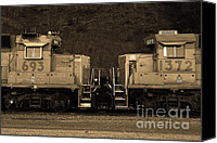 Santa Fe Canvas Prints - Union Pacific Locomotive Trains . 7D10574 . sepia Canvas Print by Wingsdomain Art and Photography