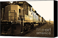 Boxcar Canvas Prints - Union Pacific Locomotive Trains . 7D10588 . sepia Canvas Print by Wingsdomain Art and Photography