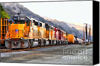 Santa Fe Digital Art Canvas Prints - Union Pacific Locomotives Along The Hills of Martinez California . 7D10563 Canvas Print by Wingsdomain Art and Photography