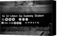 Subway Station Photo Canvas Prints - Union Square Subway Station BW Canvas Print by Susan Candelario