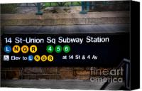 Subway Station Photo Canvas Prints - Union Square Subway Station Canvas Print by Susan Candelario