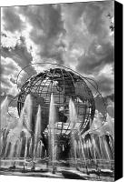 Daniel Canvas Prints - Unisphere and Fountains Flushing Meadow Park NYC Canvas Print by Robert Ullmann