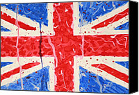 Great Painting Canvas Prints - United Kingdom Flag watercolor painting Canvas Print by Georgeta  Blanaru
